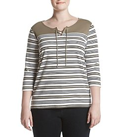 Studio Works® Plus Size Auto Striped Lace Up Top
