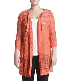 Oneworld® Plus Size Crochet Cardigan