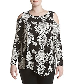 Fever™ Plus Size Printed Cold Shoulder Knit Top