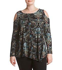 Fever™ Plus Size Paisley Print Cold Shoulder Knit Top