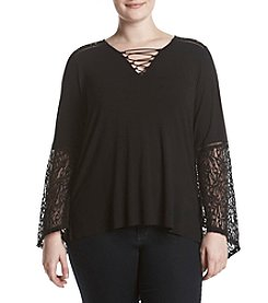 Democracy Plus Size V-Neck Lace Up Top