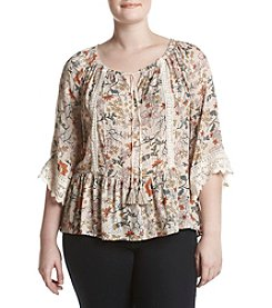 Democracy Plus Size Off-Shoulder Floral Top