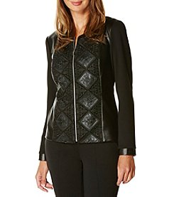 Rafaella® Petites' Lace Overlay Leather Jacket