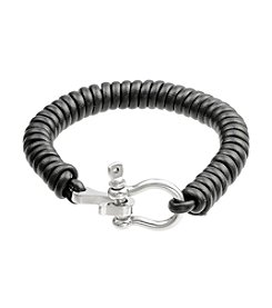 Black Leather Coil Bracelet with Stainless Steel Clasp