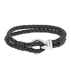 Black Double-Braided Leather Bracelet with Stainless Steel Clasp