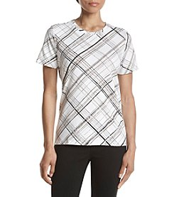 Studio Works® Petites' Plaid Crew Neck Top