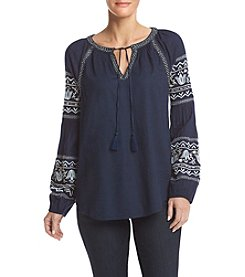 Ruff Hewn Tie Front Peasant Top