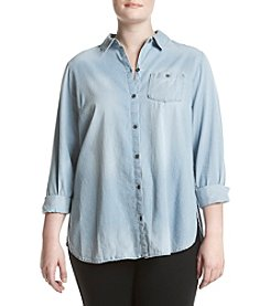 Ruff Hewn Plus Size One Pocket Chambray Tunic