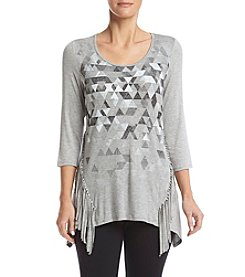 Relativity® 3/4 Sleeve Printed Fringe Tunic