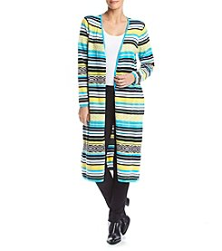 Relativity® Multi Stripe Duster Cardigan