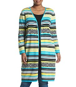 Relativity® Plus Size Multi Stripe Duster Cardigan