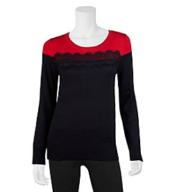 A. Byer Lace Trim Sweater