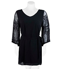 A. Byer Plus Size Lace Bell Sleeve Dress