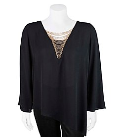 A. Byer Plus Size Chain V-Neck Top