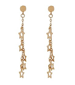 Polished Star Dangle Earrings in 14K Yellow Gold