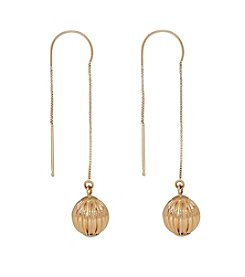 Polished Threader Drop Earrings in 14K Yellow Gold