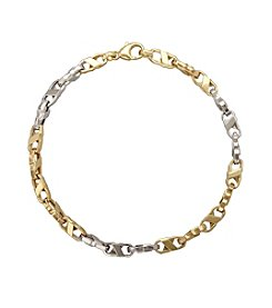 14K Two Tone Gold Polished Oval Link Bracelet