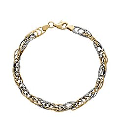 Polished Triple Oval Link Bracelet in 14K Two-Tone Gold