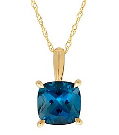 10K Yellow Gold London Blue Topaz Pendant Necklace