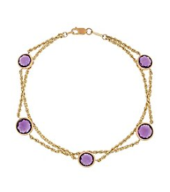 Amethyst Double-Bead Bracelet in 10K Yellow Gold