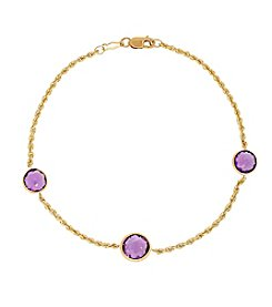 Amethyst Bead Bracelet in 10K Yellow Gold