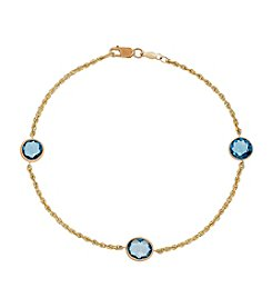 Swiss Blue Topaz Bead Bracelet in 10K Yellow Gold