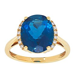 10K Yellow Gold Oval Swiss Blue Topaz Ring with 0.04 ct. t.w. Diamond Accents