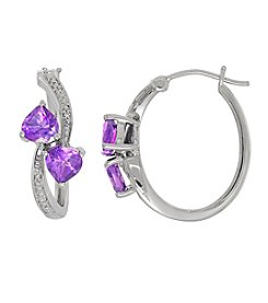 Amethyst Heart Earrings in Sterling Silver with 0.02 ct. t.w. Diamond Accents