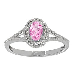 Oval Pink Amethyst Ring in Sterling Silver with 0.004 ct. t.w. Diamond Accents