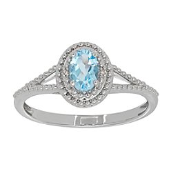 Oval Sky Blue Topaz Ring in Sterling Silver with 0.004 ct. t.w. Diamond Accents