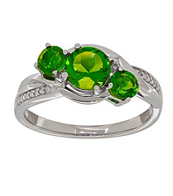 Sterling Silver Peridot Ring with 0.004 ct. t.w. Diamond Accents
