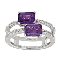 Sterling Silver Two Stone Cushion Cut Amethyst Ring