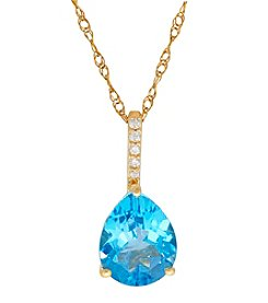 10K Yellow Gold Swiss Blue Topaz Pear Pendant Necklace