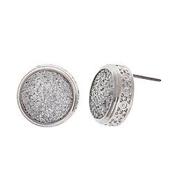 Erica Lyons® Silvertone Glitter Metal Button Earrings