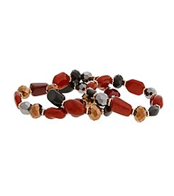 Erica Lyons® La Vida Roja Three Piece Stretch Bracelet Set