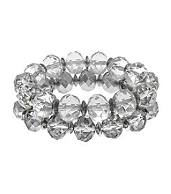 Erica Lyons® Ice Queen Two Piece Beaded Stretch Bracelet