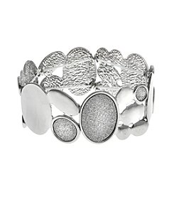 Erica Lyons® Glitter Metal Ovals Stretch Bracelet