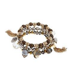 Erica Lyons® Three Piece Bead and Tassel Stretch Bracelets