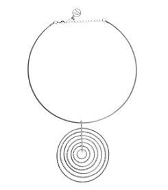 Erica Lyons® Choker Nested Rings Pendant Necklace