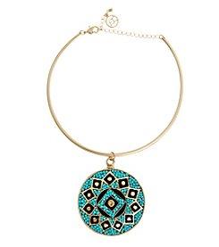 Erica Lyons® Choker Beaded Disk Pendant Necklace