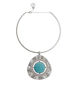 Erica Lyons® Choker Triangle Pendant Necklace