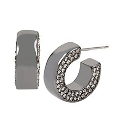 Kenneth Cole® Pave Hematite Huggie Hoop Earrings