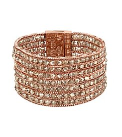 Kenneth Cole® Woven Faceted Bead Multi Row Rose Gold Bracelet
