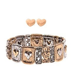 L&J Accessories Heart Stud Earrings and Stretch Bracelet Set
