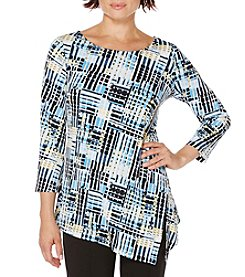 Rafaella® Printed Asymmetrical Hem Knit Top