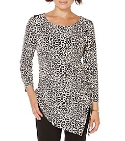 Rafaella® Cheetah Asymmetrical Hem Knit Top