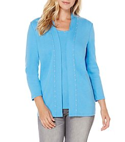 Rafaella Three Quarter Sleeve Open Front Cardigan
