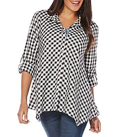 Rafaella® Asymmetrical Gingham Woven Top