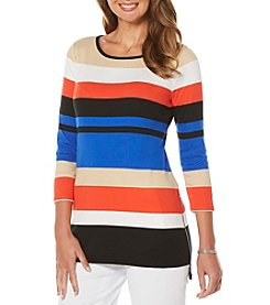Rafaella® Striped 3/4 Sleeve Top