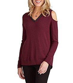 Democracy Cold Shoulder V-Neck Sweater